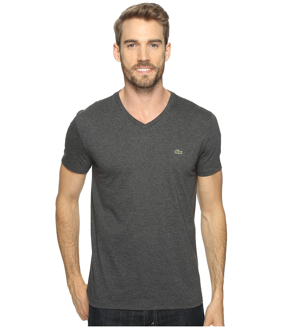 Lacoste S/S Pima Jersey V-Neck T-Shirt (Urban Grey Chine) Men