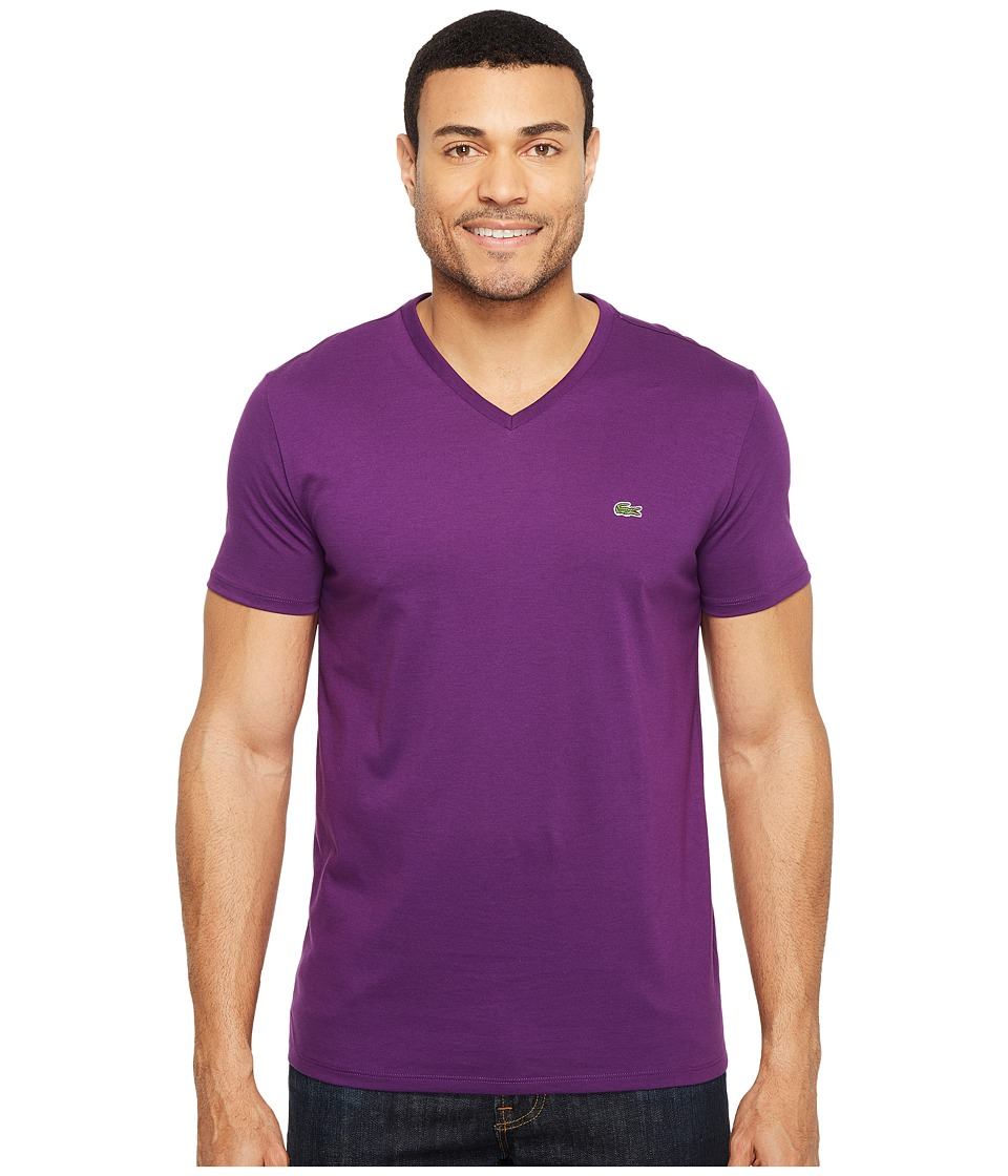 Lacoste S/S Pima Jersey V-Neck T-Shirt (Cossak Purple) Me...