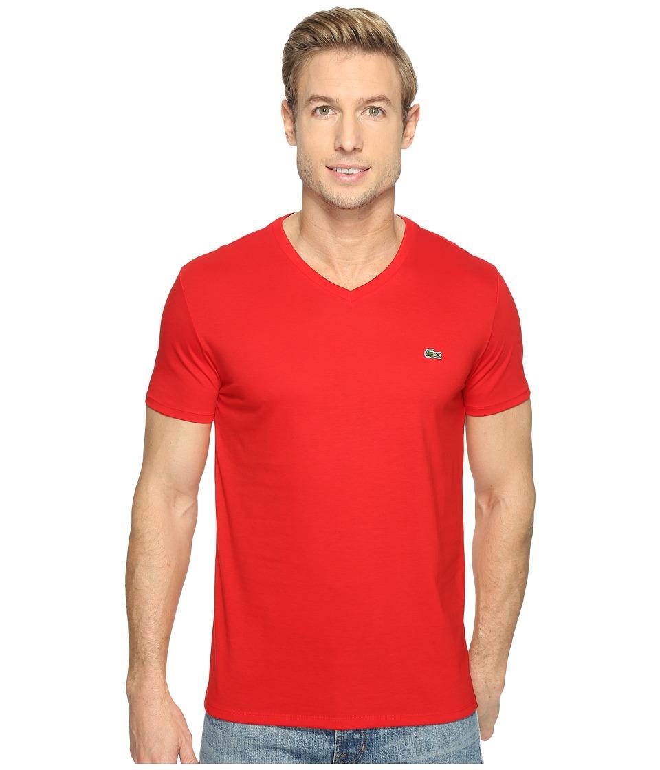 Lacoste S/S Pima Jersey V-Neck T-Shirt (Red) Men's Short ...