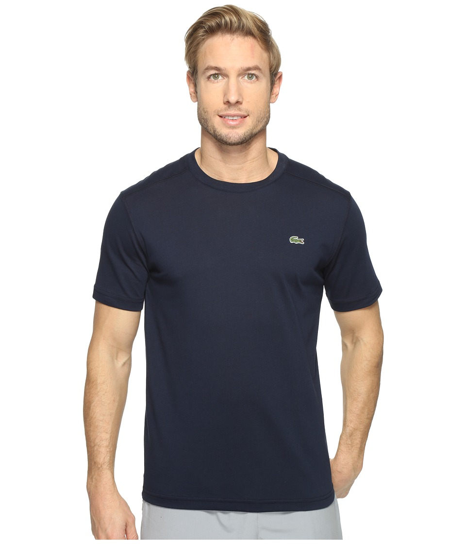 Lacoste - Sport Short Sleeve Technical Jersey Tee Shirt (Navy Blue) Mens T Shirt