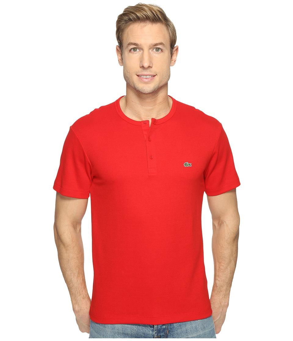 Lacoste Double Face Cotton Henley (Red) Men