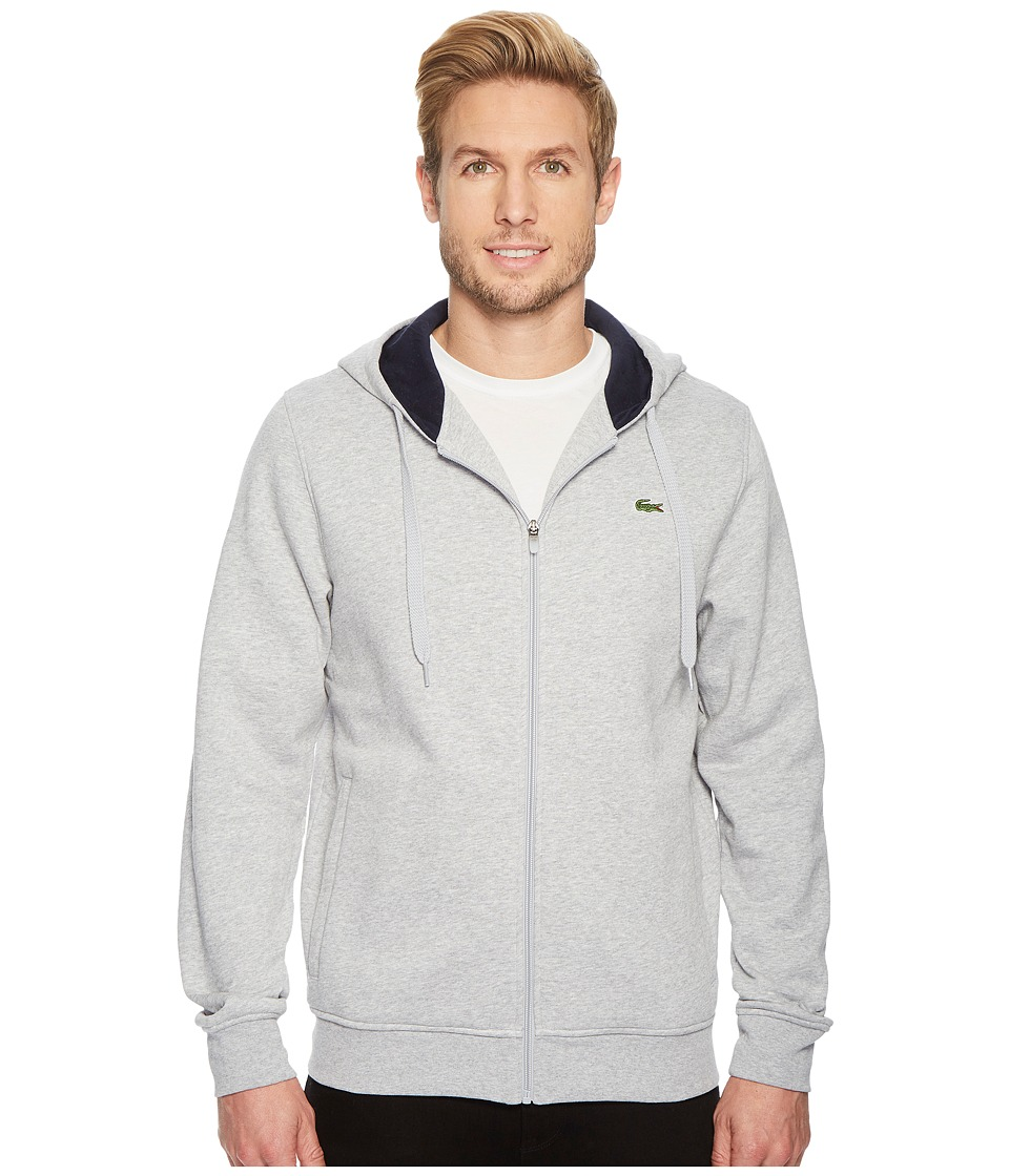 Lacoste - Sport Full Zip Hoodie Fleece Sweatshirt (Silver Chine/Navy Blue) Mens Sweatshirt