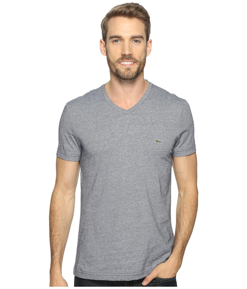 Lacoste V-Neck Stripe T-Shirt (Navy Blue/White) Men