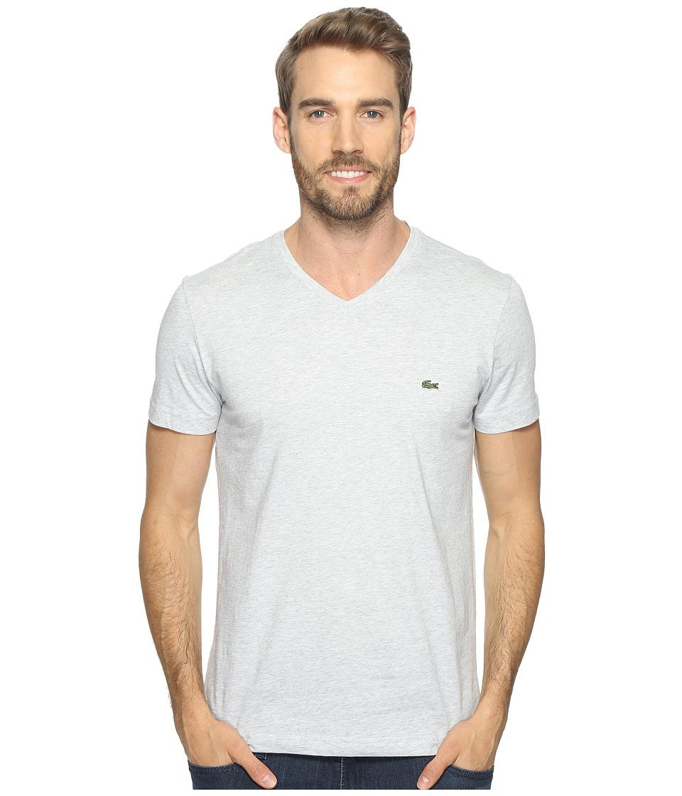 Lacoste V-Neck Stripe T-Shirt (Silver Chine/White) Men