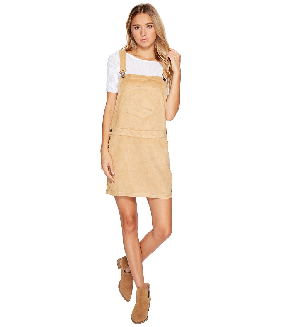 Roxy Chase The Sun Faux Suede Dungaree Dress (Curry) Women