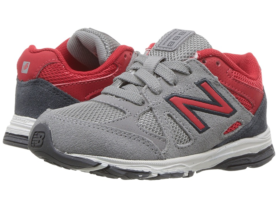New Balance Kids KJ888v1 (Big Kid) (Grey/Red) Boys Shoes