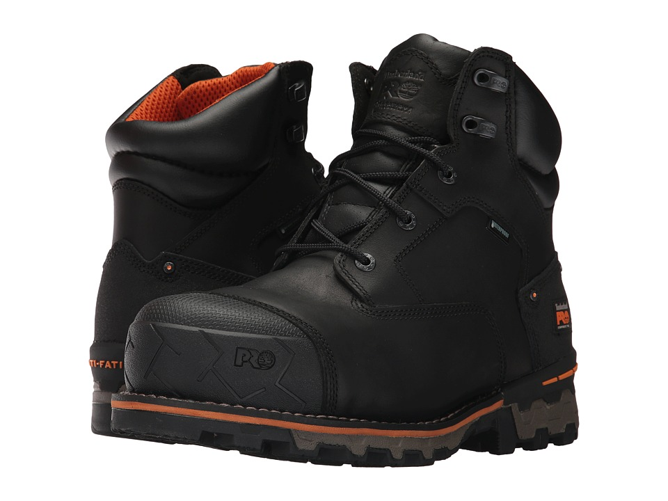 Timberland PRO Boondock 6 Composite Safety Toe Waterproof (Black Full Grain Leather) Men