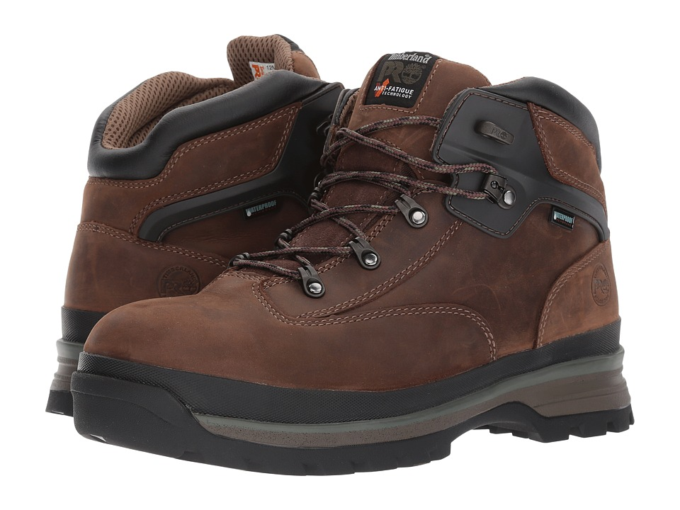 Timberland PRO - Euro Hiker Alloy Safety Toe Waterproof (Brown Full Grain Leather) Mens Hiking Boots