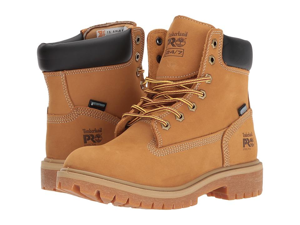 Timberland PRO Direct Attach 6 Steel Safety Toe Waterproof Insulated (Wheat Nubuck Leather) Women