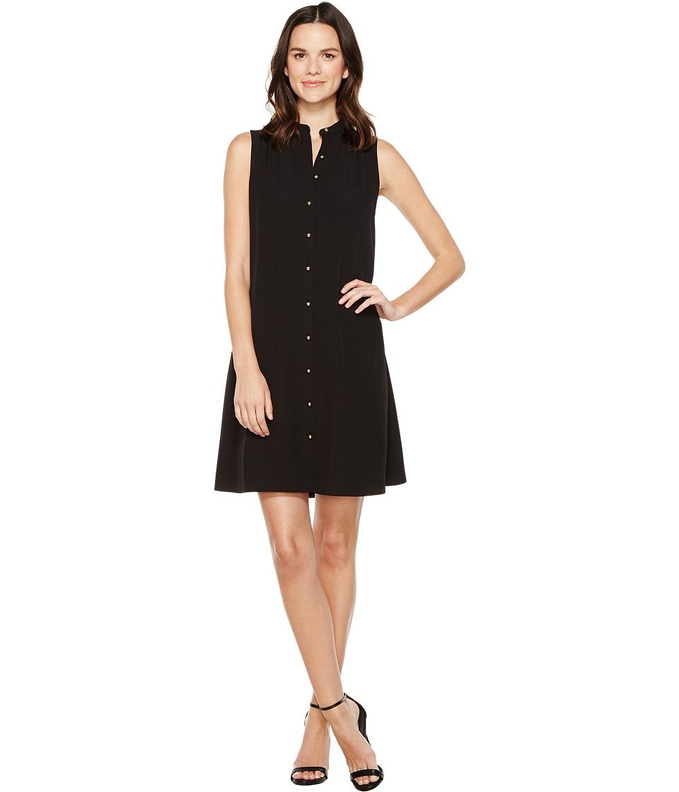 Calvin Klein Button Down Trapiz Dress (Black) Women