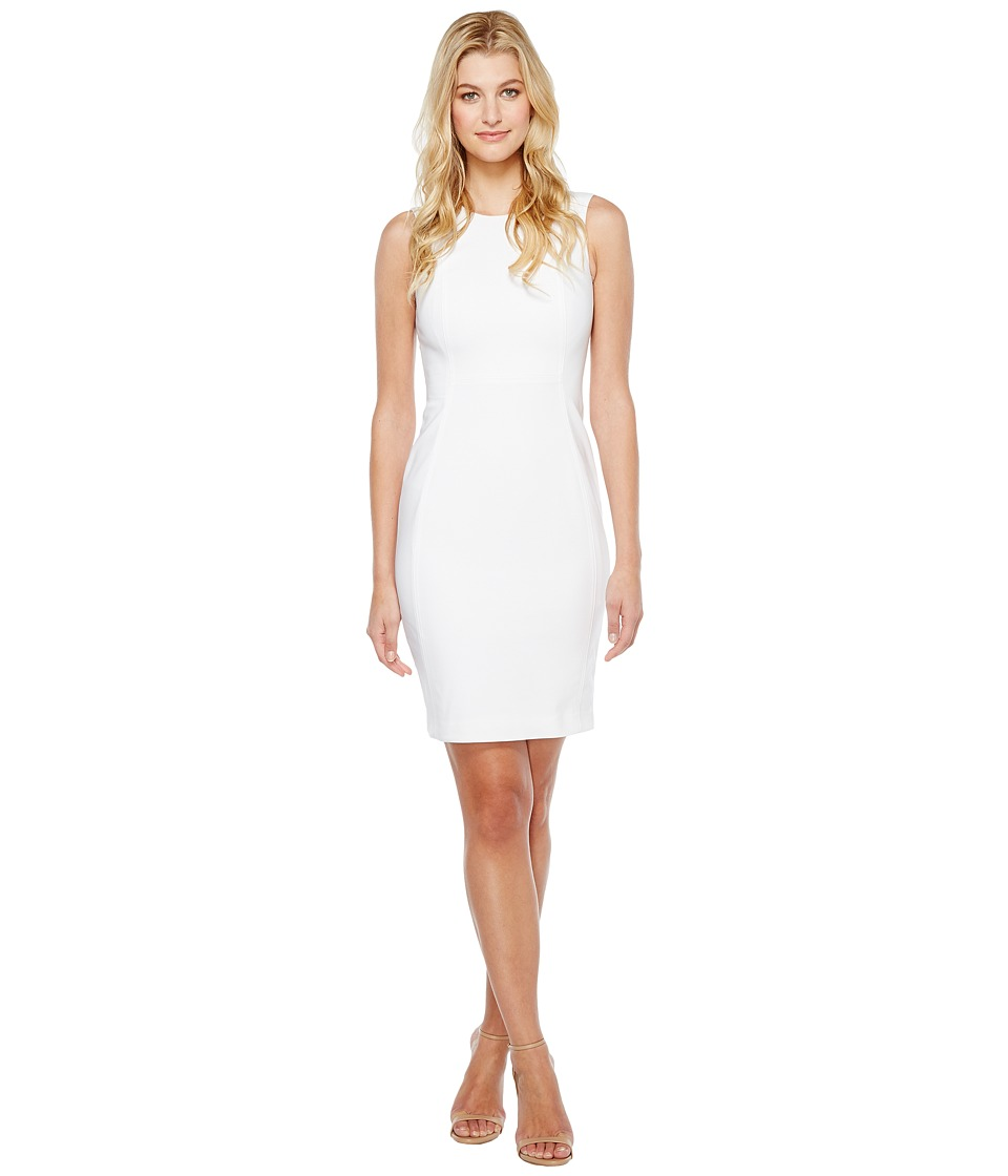 Calvin Klein Cotton Princess Panel Sheath Dress (White) Women