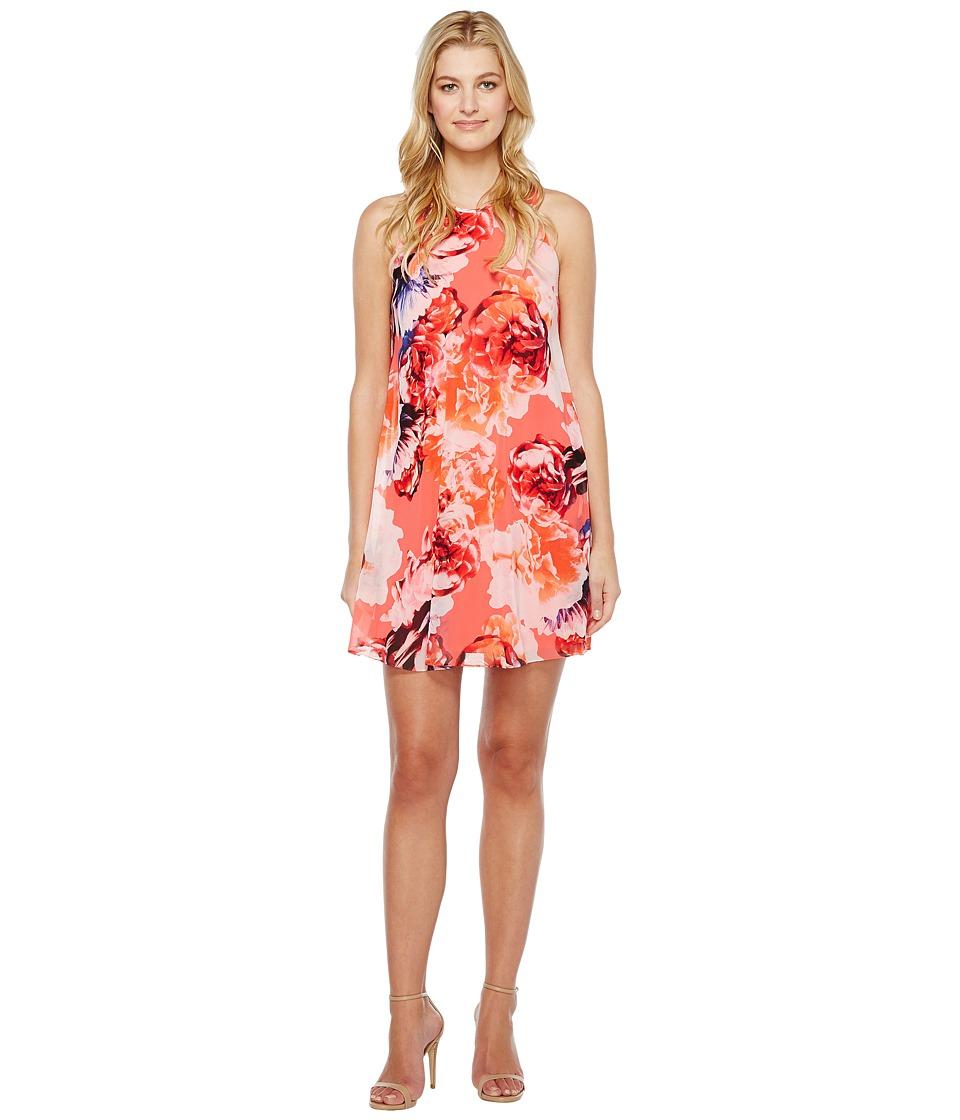 Calvin Klein Floral Chiffon Trapiz Dress (Coral Multi) Women