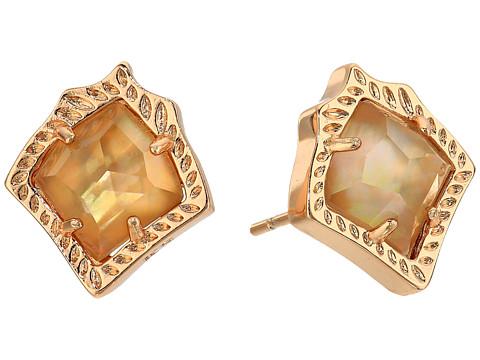 Kendra Scott Kirstie Stud Earrings - Rose Gold/Dark Brown Mother-of-Pearl