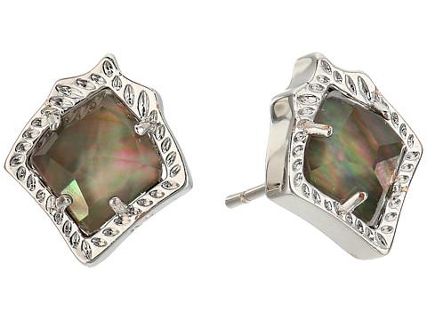 Kendra Scott Kirstie Stud Earrings - Rhodium/Black Mother-of-Pearl