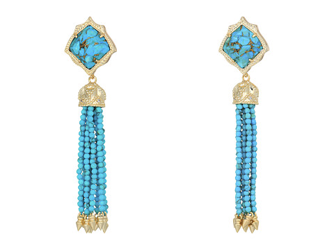 Kendra Scott Misha Hourglass Earrings - Gold/Bronze Veined Turquoise Turquoise Beads