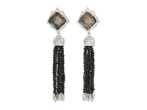 Kendra Scott Misha Hourglass Earrings - Rhodium/Black Mother-of-Pearl/Black Mop Beads