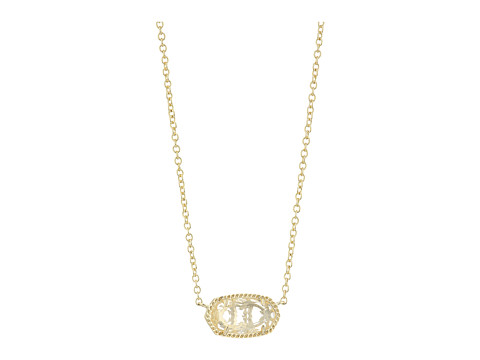 Kendra Scott Elisa Birthstone Necklace - April/Gold/Clear Crystal Glass
