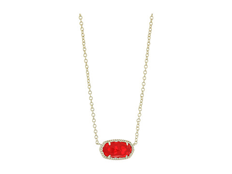 Kendra Scott Elisa Birthstone Necklace - July/Gold/Ruby Red Clear Glass