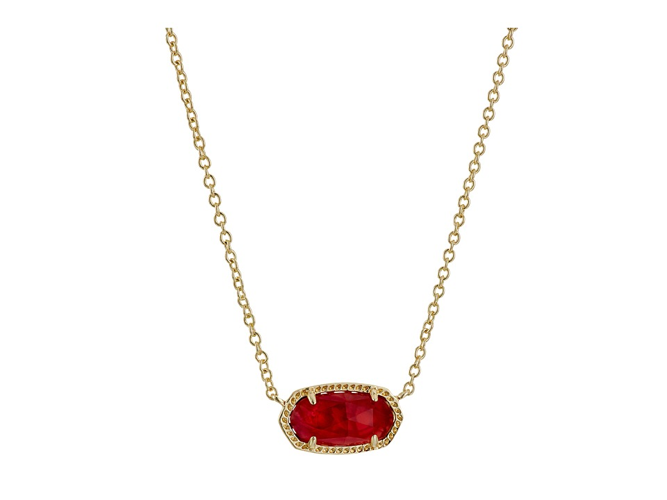 Kendra Scott Elisa Birthstone Necklace (October/Gold/Berr...