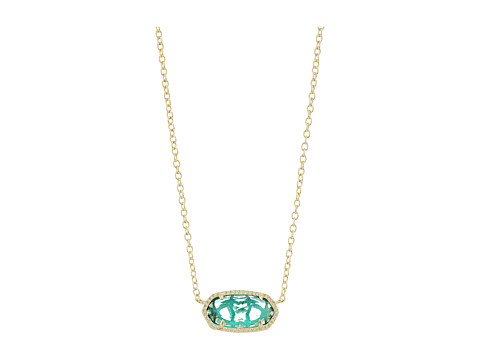 Kendra Scott Elisa Birthstone Necklace - December/Gold/London Blue Clear Glass