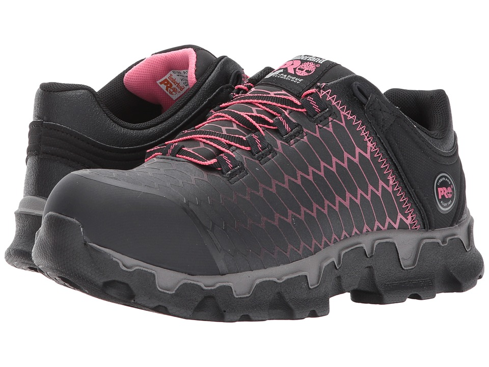 Timberland PRO Powertrain Sport Alloy Safety Toe EH (Black/Pink Raptek) Women