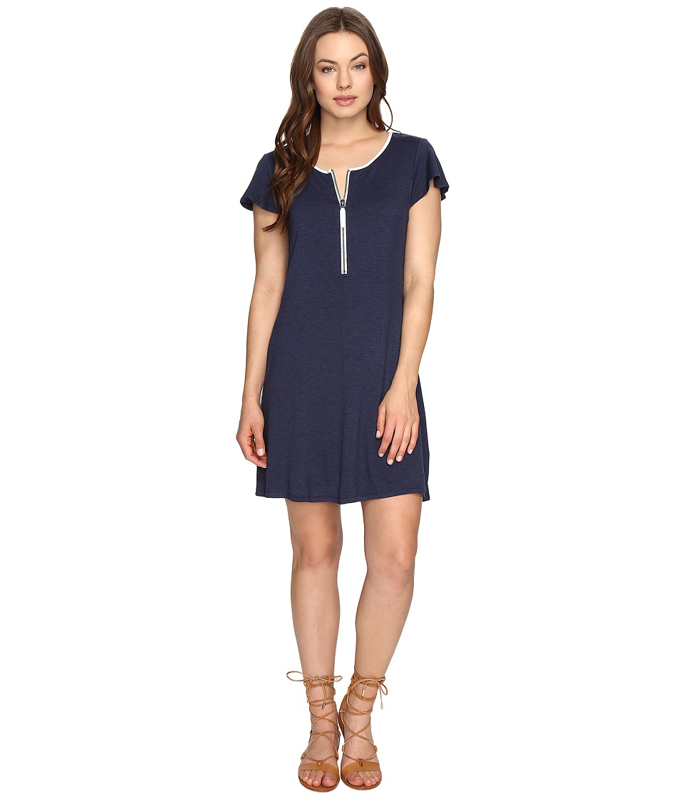 kensie Drapey French Terry Dress KS0K960S (Heather Navy Combo) Women