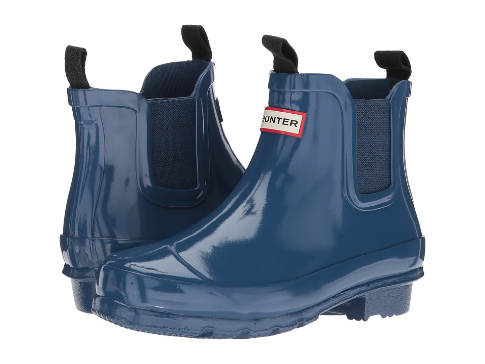 Hunter Kids Chelsea Gloss Rain Boots (Little Kid/Big Kid) (Dark Earth Blue) Kids Shoes