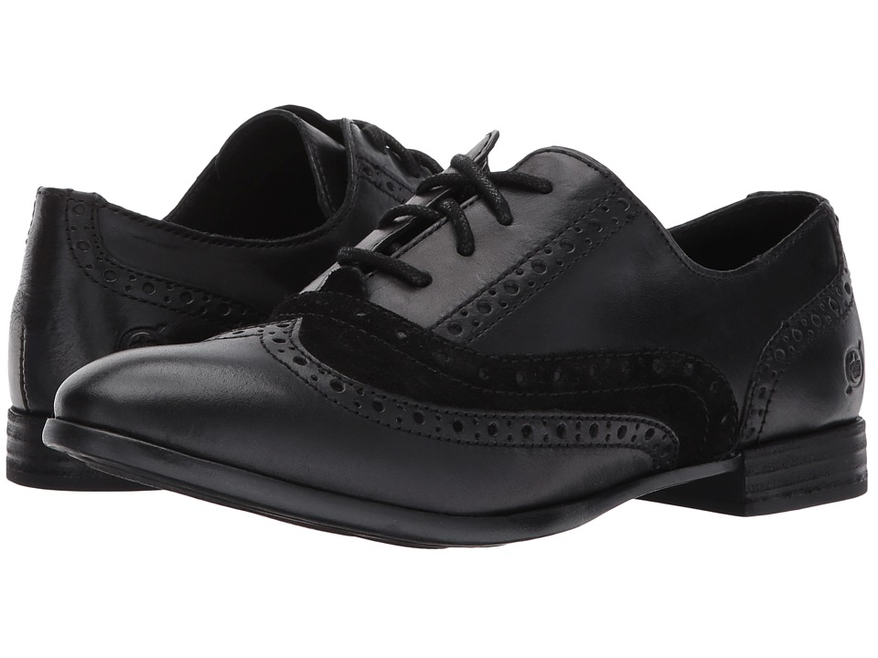 Vintage Style Shoes, Vintage Inspired Shoes Born - Ellinor BlackBlack Combo Womens Lace Up Wing Tip Shoes $100.00 AT vintagedancer.com