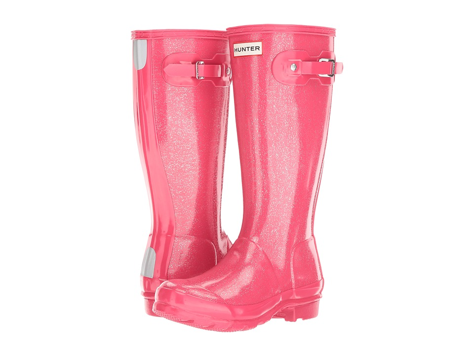 Hunter Kids - Original Glitter Rain Boots (Little Kid/Big Kid) (Mosse Pink) Kids Shoes