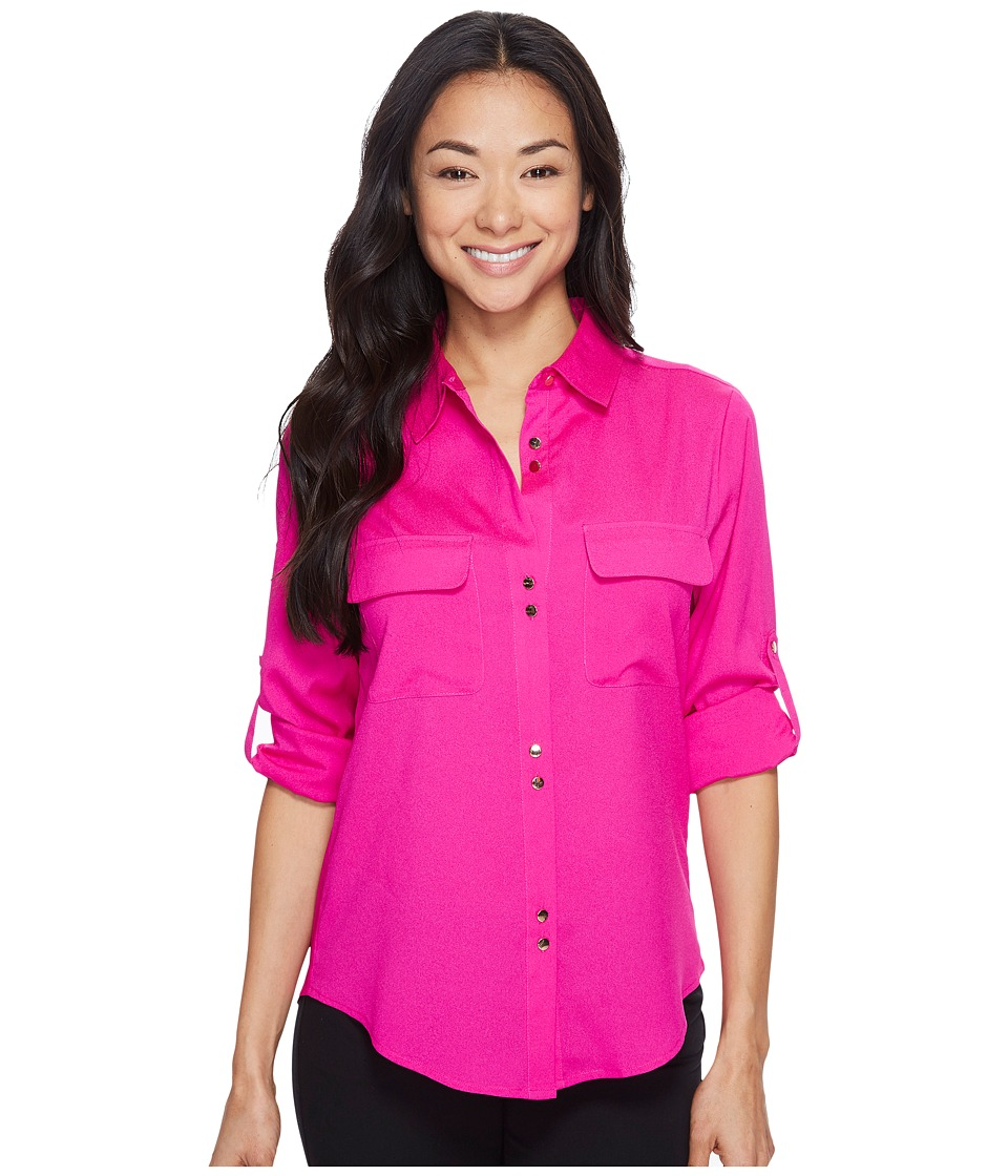 Ivanka Trump - Double Button Blouse (Fuchsia) Womens Blouse