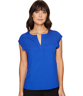 Ivanka Trump - Cap Sleeve Pocket Woven Top