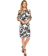 Sangria - Cold Shoulder Floral Shift Dress with Keyhole Detail