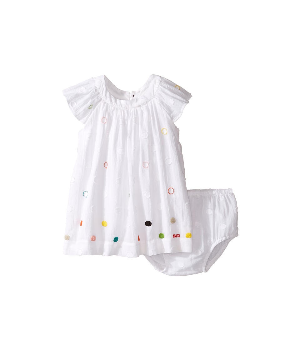 Sonia Rykiel Kids - Short Sleeve Embroidered Polka Dot Dress w/ Diaper Cover
