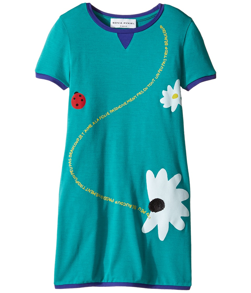 Sonia Rykiel Kids - Short Sleeve Dress w/ Flower Design On Front