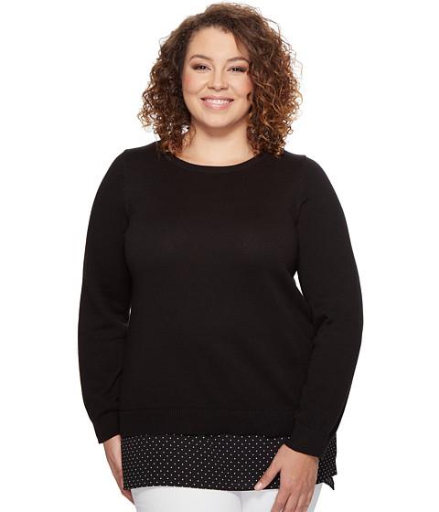 MICHAEL Michael Kors Plus Size Long Sleeve Tiny Dot Hem Sweater