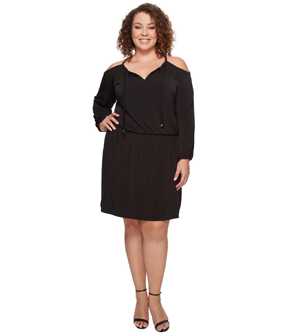 MICHAEL Michael Kors Plus Size Cold Shoulder Dress (Black) Women