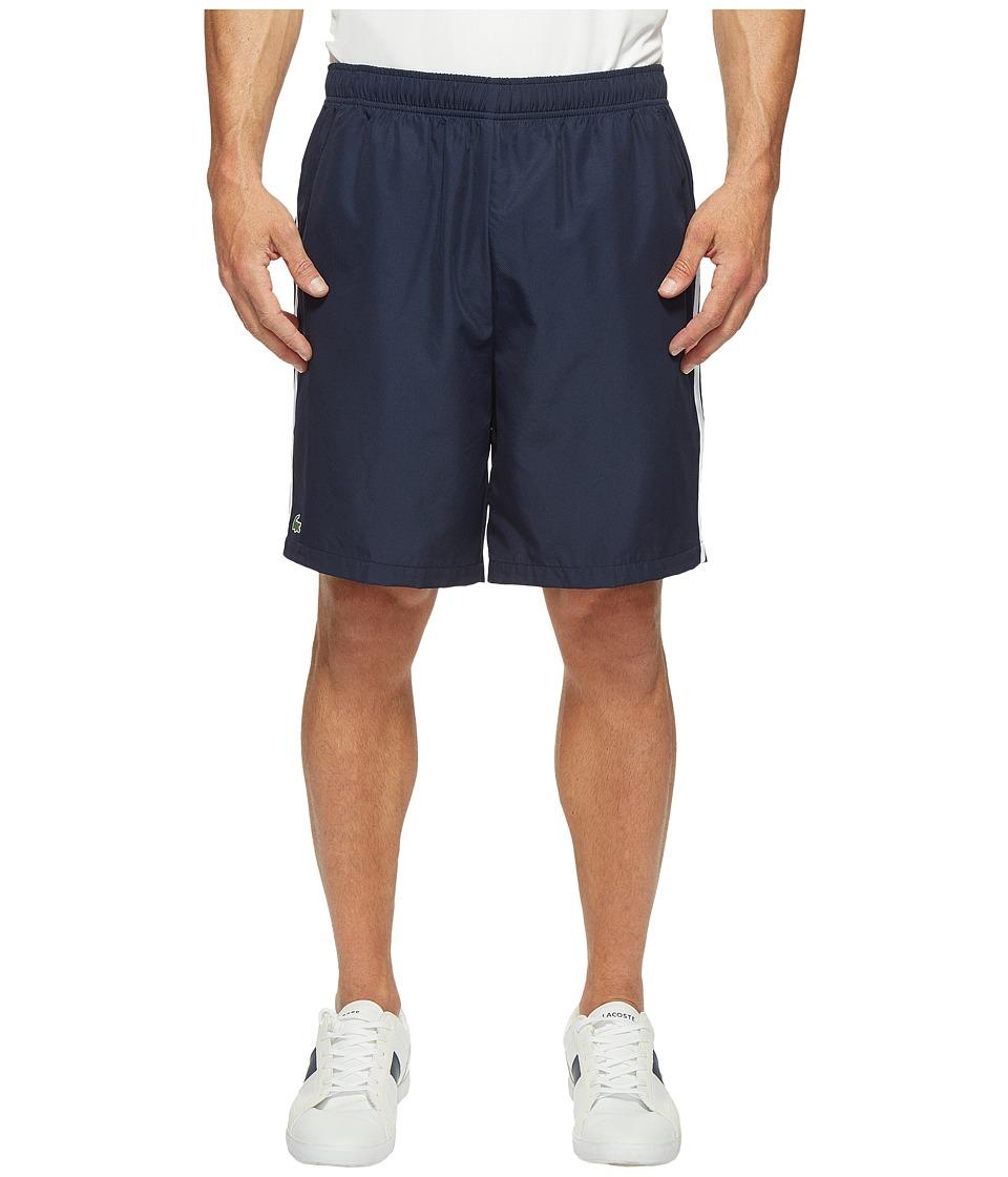 Lacoste Sport Taffeta w/ Stripe on Side Shorts (Navy Blue/White/Etna Red) Men