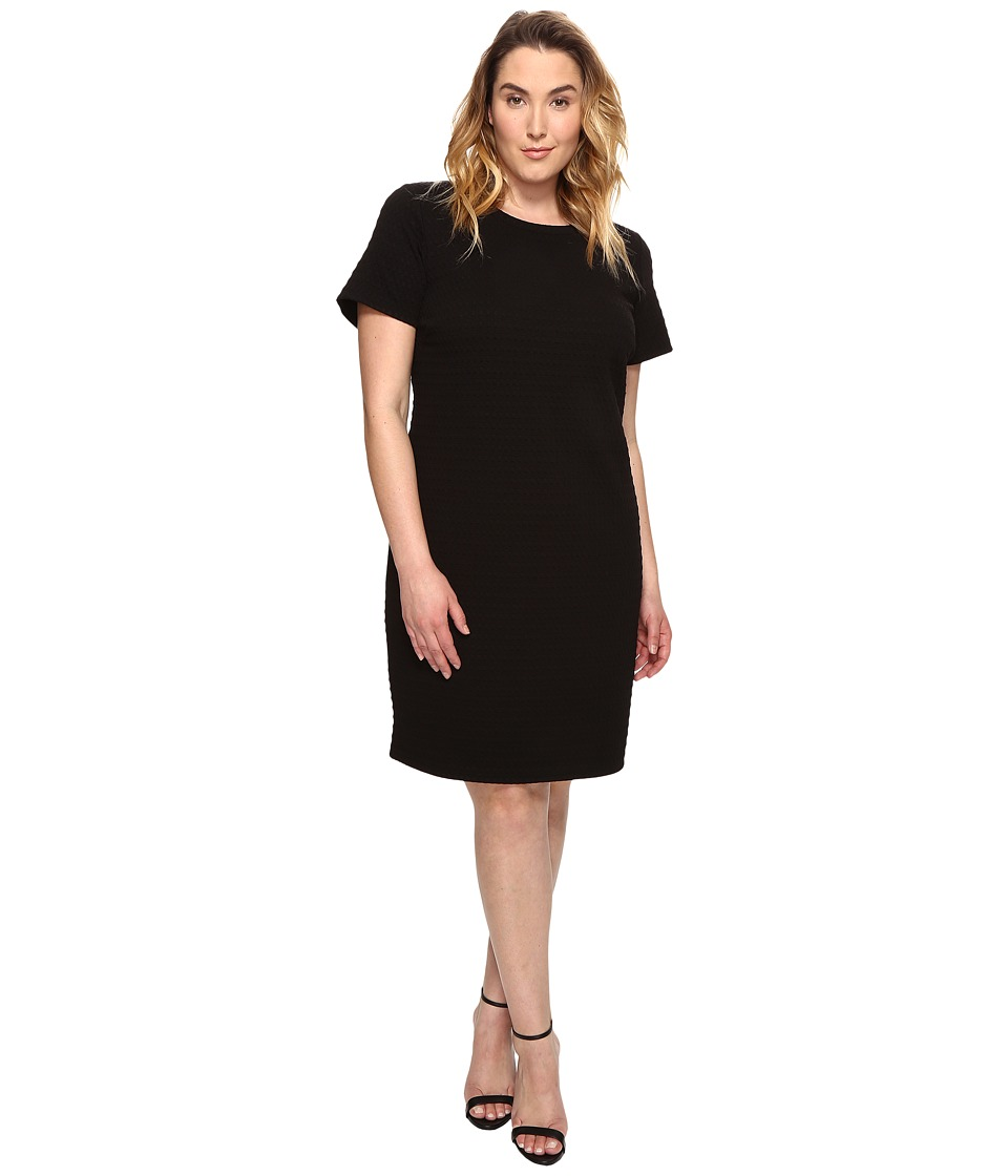 MICHAEL Michael Kors Plus Size Grid Texture Knit Dress (Black) Women