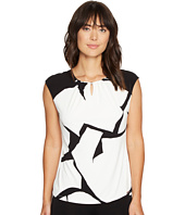 Ivanka Trump - Printed Matte Jersey with Cap Sleeve