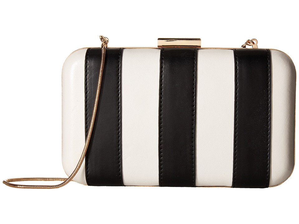 Alice + Olivia Shirley Striped Large Clutch (Black/White) Clutch Handbags