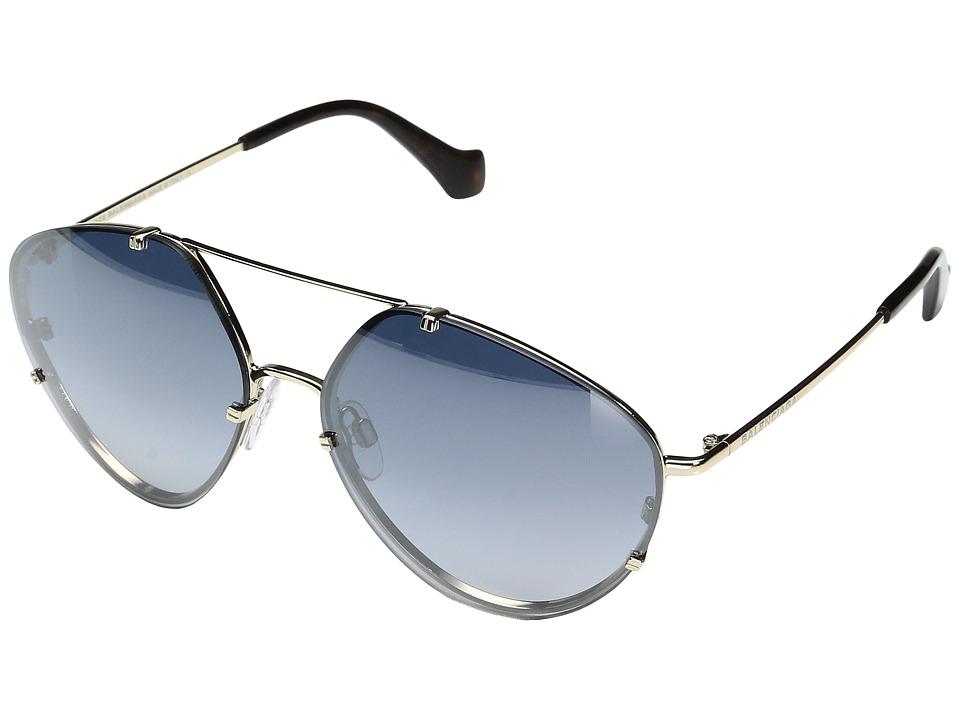 Balenciaga - BA0085 (Pale Gold Metal/Dark Havana Temple Tip/Gradient Smoke Flash Lens) Fashion Sunglasses
