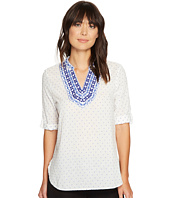 Ivanka Trump - Dobby Dot Linen Top with Embroidery