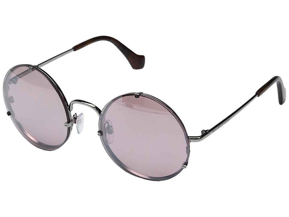 Balenciaga - BA0086 (Light Ruthenium Metal/Melange Brown Temple Tip/Silver Flash Red) Fashion Sunglasses