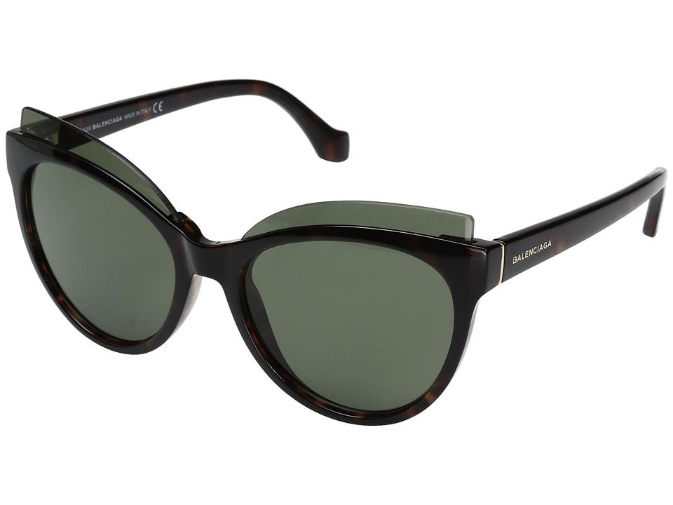 Balenciaga - BA0094 (Dark Havana Front/Dark Havana Temple/Rose Gold Logo/Green Lenses) Fashion Sunglasses