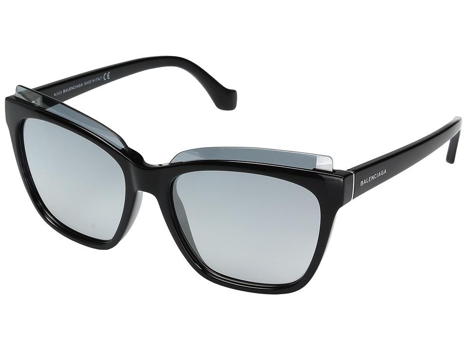 Balenciaga - BA0093 (Black Front/Black Temple/Palladium Logo/Flash Gradient Smoke Len) Fashion Sunglasses