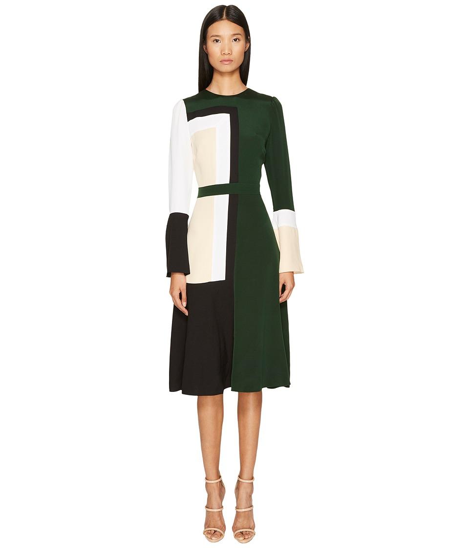 Prabal Gurung - Stretch Viscose Crepe Color Block Long Sleeve Dress