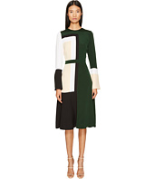 Prabal Gurung - Stretch Viscose Crepe Color Block Long Sleeve Dress