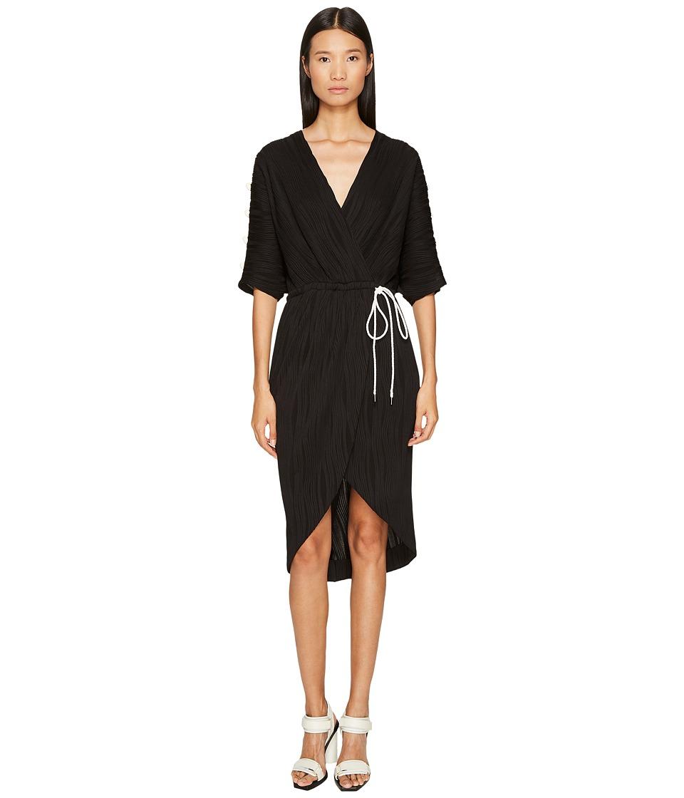 Prabal Gurung - Wave Rib Jersey Dolman Sleeve Wrap Dress (Black) Womens Dress