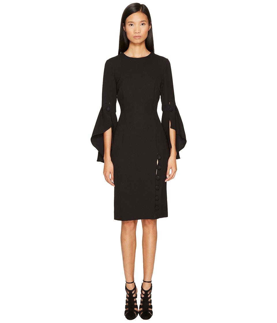 Prabal Gurung - Poly Crepe Ruffle Sleeve Sheath Dress (Black) Womens Dress