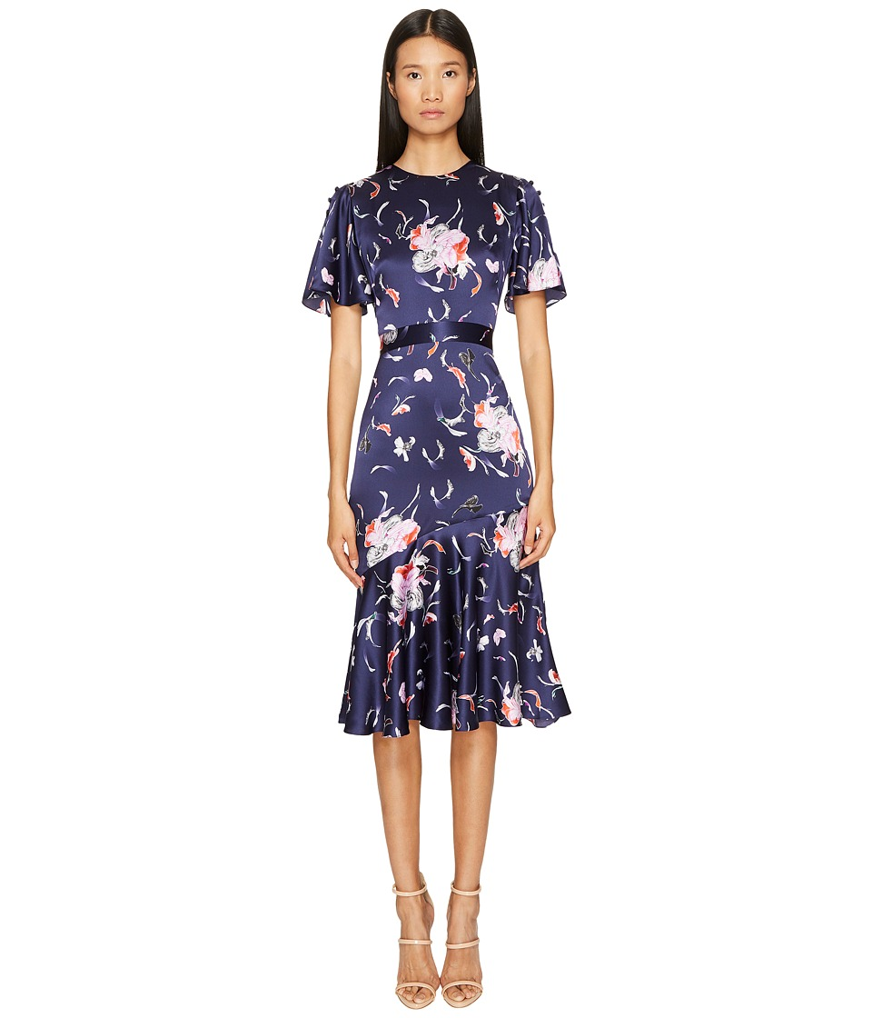 Prabal Gurung - Falling Floral Charmeuse Flounce Sleeve Dress w/ Flare Skirt